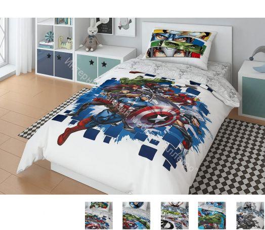 """Детское постельное белье """"Marvel Мстители"""" Поплин 1,5-спальный комплект (наволочка 50х70)"""