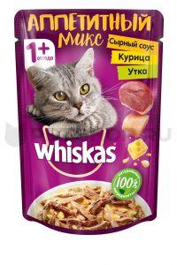 Корм для кошек WHISKAS Курица/утка в сырном соусе 85г