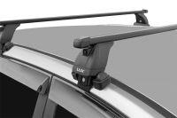 Багажник на крышу Kia Soul (c 2019г, без рейлингов), Lux, стальные прямоугольные дуги