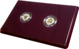 Монеты в бархатных планшетах
