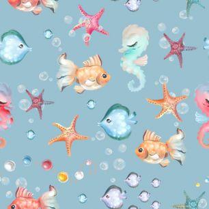 Хлопок Перкаль Морские рыбки 50х37