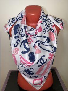 """Шелковый платок Chanel, """"логомания"""" (белый), арт. 034"""