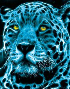 Алмазная мозаика «Неоновый ягуар» 40x50 см