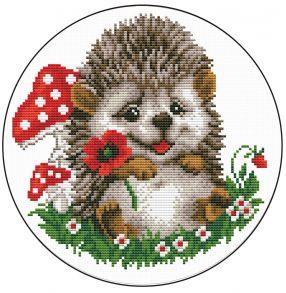Вышивка крестиком «Ежик с цветком» 21x21.