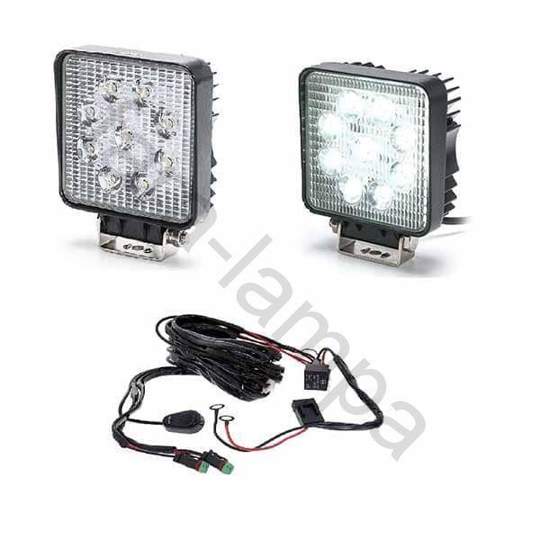 Комплект квадратных светодиодных фар с проводкой