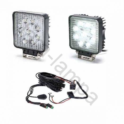 Комплект дополнительных светодиодных фар мощностью 54 ватт с проводкой