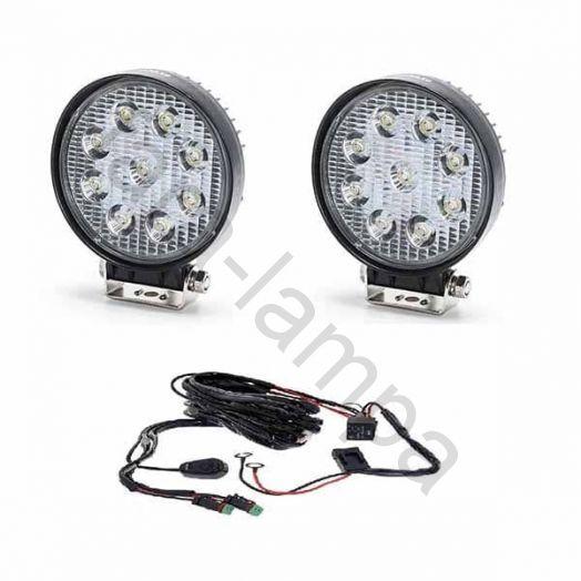 Комплект круглых светодиодных фар мощностью 54 ватт с проводкой