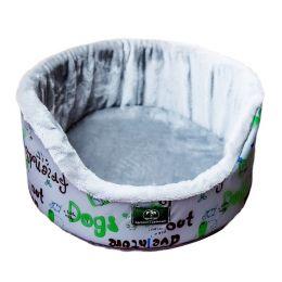 Лежанка для собак и кошек круглая с мехом Хвостел Грей