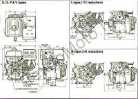 Двигатель Erma Power GX420 D25(15 л. с.) присоединительные размеры