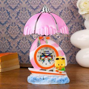 """Часы-светильник """"Утенок на лодочке"""", настольные, 23х14 см, микс 837707"""