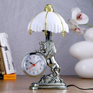 """Часы-светильник """"Царь зверей"""", с будильником, 27х12 см 981711"""