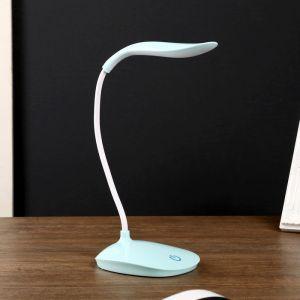"""Лампа настольная сенсор 3 режима LEDх14 """"Капля"""" синяя USB 42х12,5х10 см   3679132"""