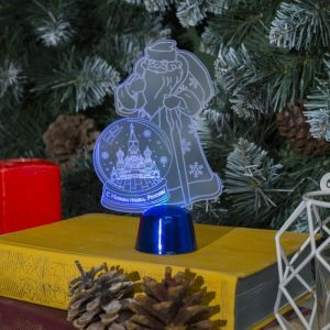 "Подставка световая ""Дед Мороз, Москва"", 14.5х9 см, 1 LED, батарейки в комплекте, RGB микс 2446500"