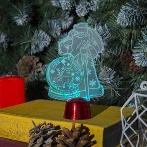 """Подставка световая """"Дед Мороз, Олень в шаре"""", 14.5х9 см, 1 LED, RGB микс 2446497"""