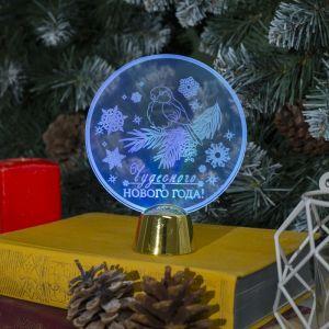 """Подставка световая """"Снегирь"""", 13.5х11 см, 1 LED, батарейки в комплекте, RGB микс 2446495"""