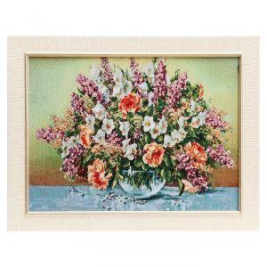 """Картина из гобелена """"Букет в чаше и бабочки"""", 35х45 см"""