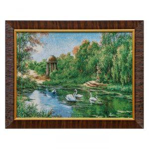 "M001-30х40 Картина из гобелена ""Ротонда у озера с лебедями"" (35х45) 4889395"