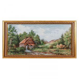 """Картина из гобелена """"Мельница в лесу"""" (44х64)"""