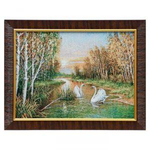 """Картина из гобелена """"Лебеди в осеннем лесу"""", 35х45 см"""