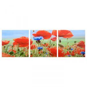 "Модульная картина ""Полевые цветы"" (3-35х35) 35х105 см 4983614"