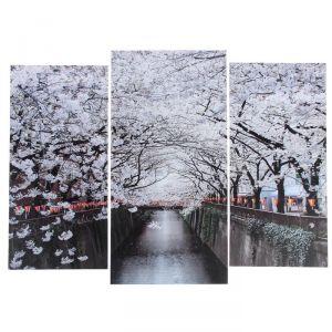 """Модульная картина """"Цветущие деревья""""  (2-25х52; 1-30х60) 60х80 см   3981643"""