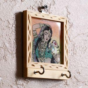 """Ключница """"Ализея"""" дерево,стекло,металл,песок,текстиль 3х9,5х12 см   4206013"""