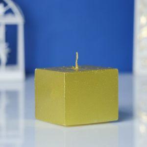 Свеча-квадрат парафиновая, золотая, 4,6х4,6см, Н=5см   3909076