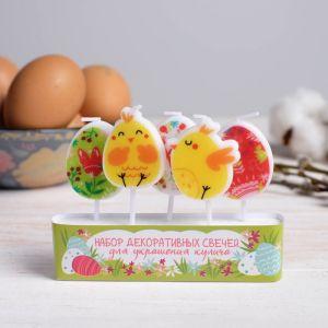 Пасхальный набор свечей для кулича «Цыплята в цветах»