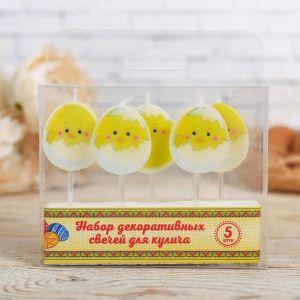 Пасхальный набор свечей для кулича «Цыплята»
