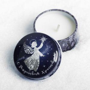 Свеча в баночке «Сeребряный ангел»
