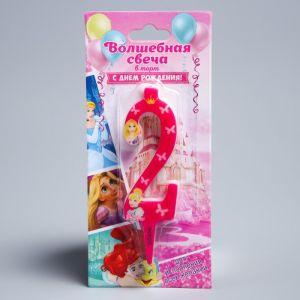 """Свеча в торт цифра Дисней 2 """"С Днем рождения"""", Принцессы"""