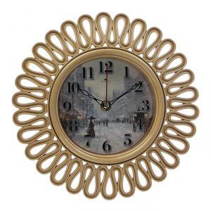 """Часы настенные круглые """"Зимняя улочка"""", корпус витой бежевый, 26х26 см   2976064"""