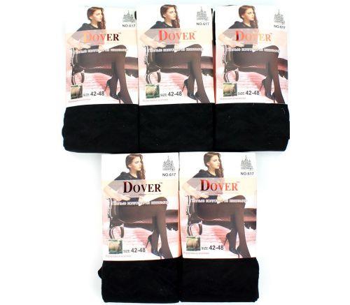 Женские колготки тёплые, шерсть-кашемир Dover Black 42-54 DV617