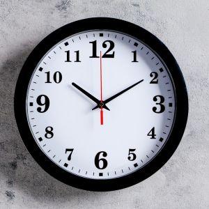 """Часы настенные """"Классика"""", арабские цифры, черный обод, 28х28 см"""