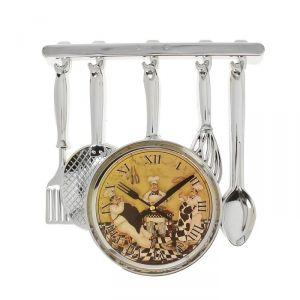 """Часы настенные, серия: Кухня, """"Столовые приборы"""", хром, на циферблате повара, 30х33 см 1031073"""