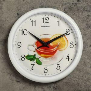 """Часы настенные, серия: Кухня, """"Чай"""", белый обод, 24х24 см 1130903"""