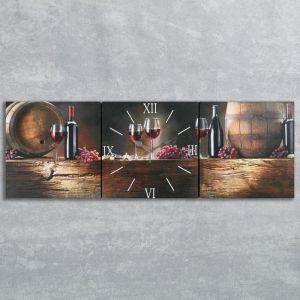 """Часы настенные, серия: Интерьер, модульные """"Вино"""", 35х110  см, микс 2045003"""