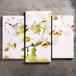 Часы настенные модульные «Белые орхидеи над водой», 60 ? 80 см