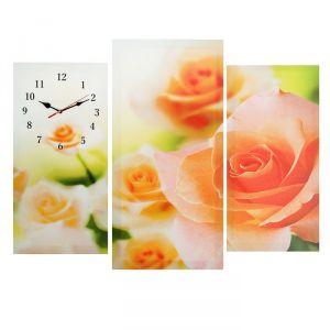 Часы настенные модульные «Розовые розы», 60 ? 80 см