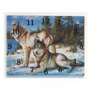 """Часы настенные, серия: Животный мир, """"Волки в Зимнем Лесу"""", 20х25  см, микс 1639455"""