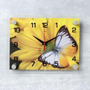 """Часы настенные, серия: Цветы, """"Бабочка на цветке"""", 20х26 см микс 2267870"""