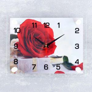 """Часы настенные, серия: Цветы, """"Роза с подарком"""", 20х26 см  микс 2362184"""