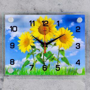 """Часы настенные, серия: Цветы, """"Три подсолнуха"""", 20х26 см 2267859"""