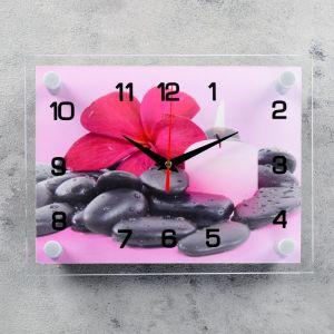 """Часы настенные, серия: Цветы, """"Цветок на камешках"""", 20х26 см 2267856"""