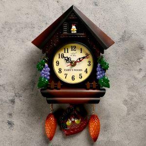 """Часы настенные, серия: Маятник, с зайчиком """"Виноградная лоза"""", 28х19 см микс 669582"""