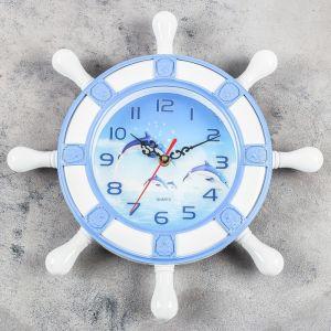 """Часы настенные, серия: Море, """"Дельфины"""", d=15 см   4469766"""