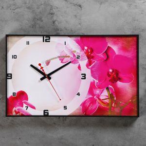 """Часы-картина настенные прямоугольные """"Розовая мистерия"""", 37х60 см"""