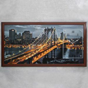 """Часы-картина настенные, серия: Город, """"Манхэттенский мост"""", 50х100  см, микс 1541481"""