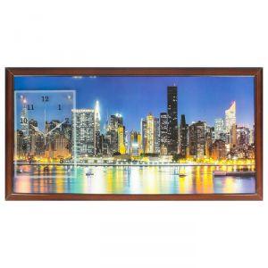 """Часы-картина настенные, серия: Город, """"Ночной город и архитектура"""", 50х100  см, микс 1541493"""