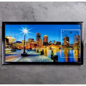 """Часы-картина настенные, серия: Город, """"Ночной город и архитектура"""", 50х100  см, микс 1541499"""